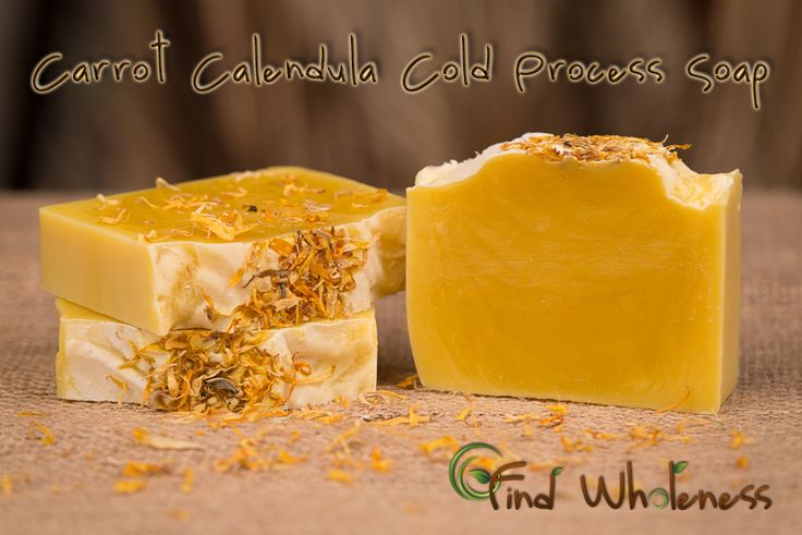 Carrot Calendula Soap Yield: 2 lbs (21 oz oils)  13.7 oz olive oil (pomace) 4 oz calendula infused oil 4.2 oz coconut oil 2.1 oz castor oil 5.98 oz water w/1 tsp fine sea salt dissolved into it (this has been discounted by 2 oz b/c of carrot puree) 2.829 oz lye 2 oz carrot puree (I used baby food) Calendula petals, sprinkled on top