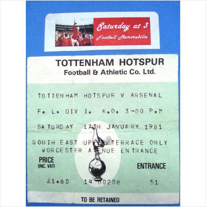 Tottenham Hotspur v Arsenal Football Ticket Stub 17/01/1981 League Division 1