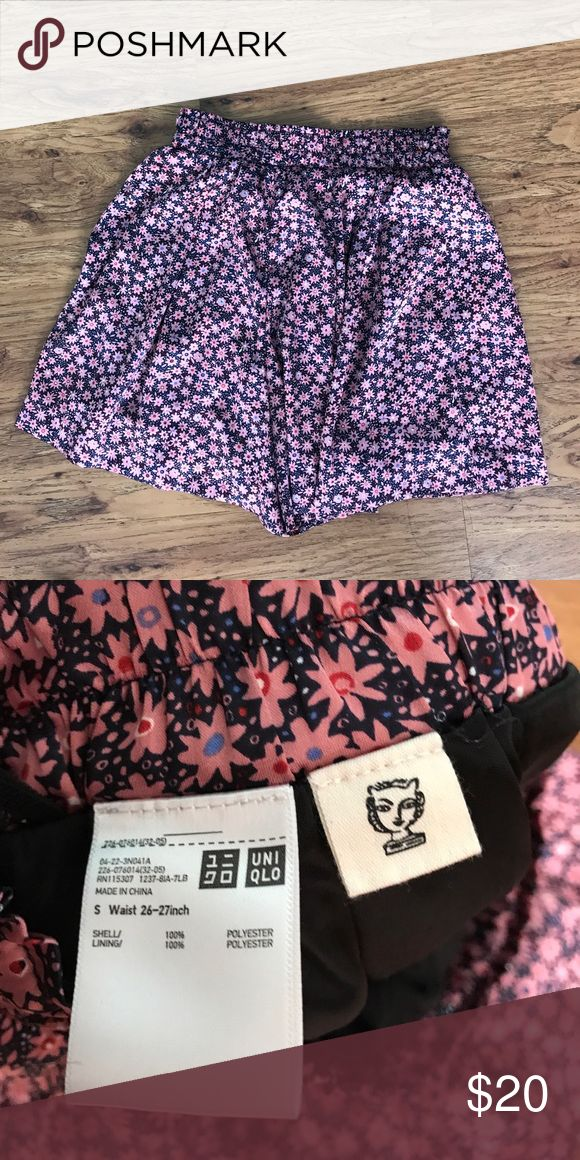 """Limited Edition Uniqlo pink floral 🌸 shorts They are super silky adorable shorts but they look like a skirt! Size S 26-27"""" waist Uniqlo Shorts"""
