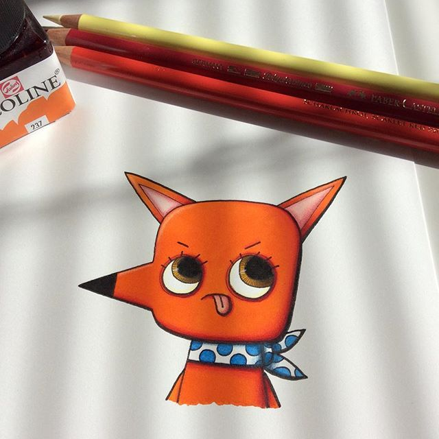 Little Emil disagrees... #illustration #drawing #sketchbook #sketch #watercolor #coloredpencil #fox #ink