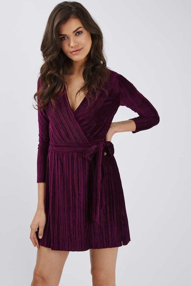 8dd624d6dc366 Topshop Purple Velvet Plisse Wrap Dress Size UK 12 (US 8)  fashion  clothing   shoes  accessories  womensclothing  dresses (ebay link)
