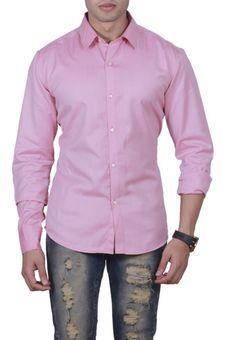 Red Plain Shirt by Manu Couture, Mens Shirts