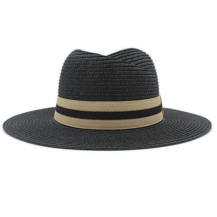 NEW Unisex Fashion Stripe Band Wide-Brim Panama Summer Beach Hat 5 Colors