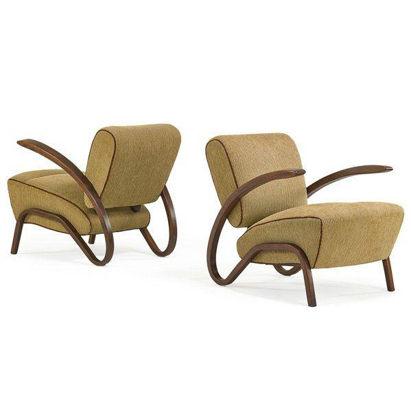 JINDRICH HALABALA Pair of lounge chairs : Lot 1141