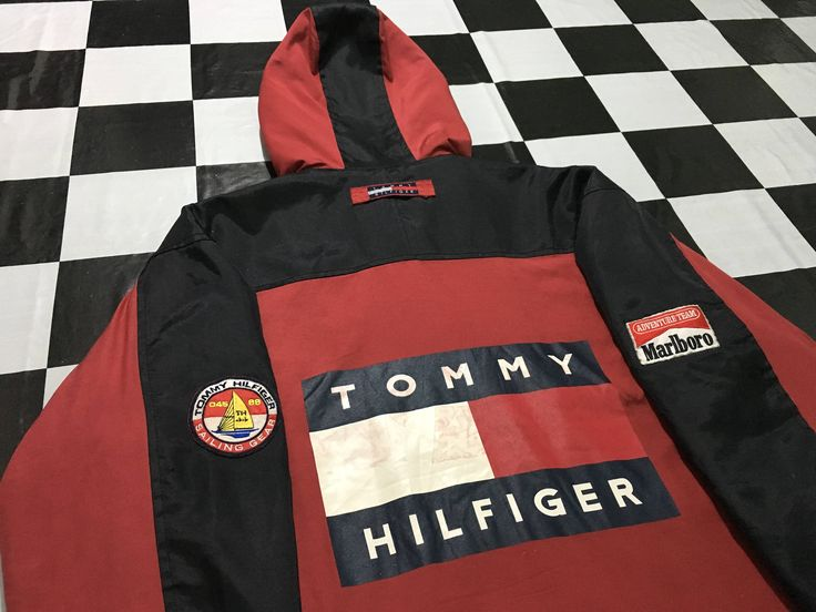 Vintage Tommy hilfiger sailing jacket big flag color block Marlboro team Size L TH sailing gear 045/88 by AlivevintageShop on Etsy