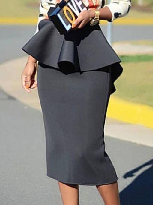 c10271e9962668 Mid-Calf Bodycon Plain Office Lady Women's Skirt in 2019 | Hobble ...