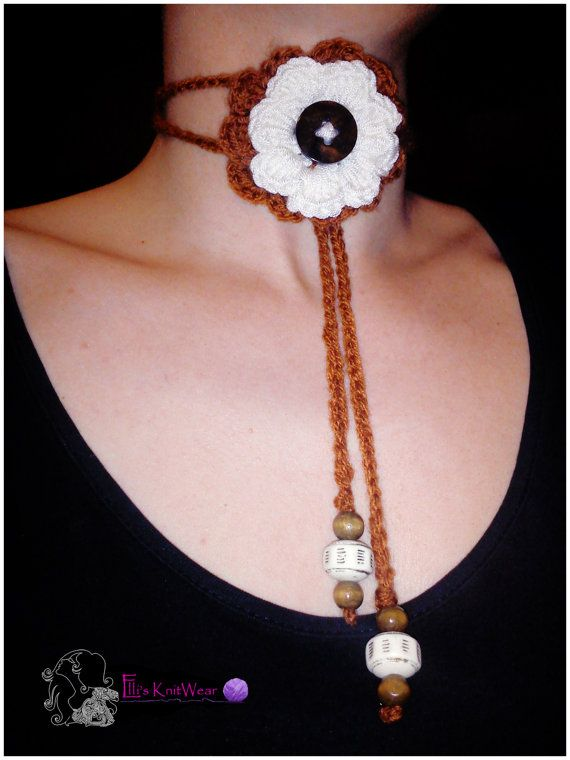 Crochet Necklace With Flower Button & Beads by EllisKnitwearShop