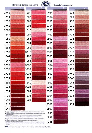 Карта цветов французского мулине для вышивки крестом фирмы ДМС