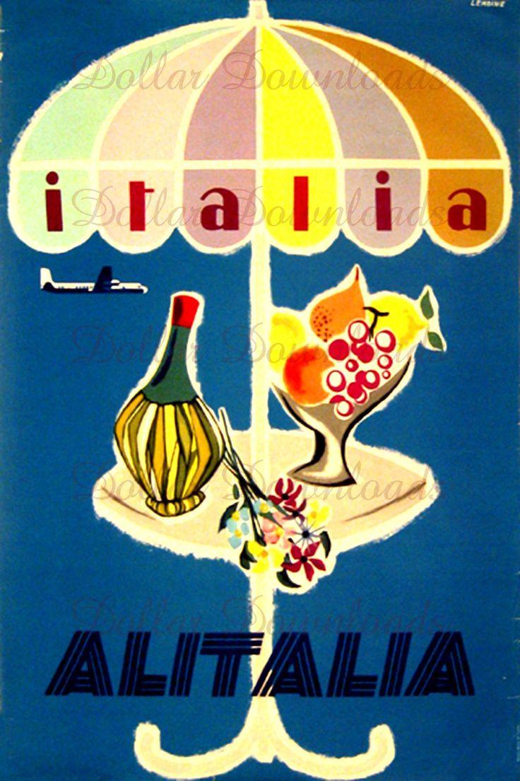 Italia Italy Alitalia Airline Vintage Travel Poster