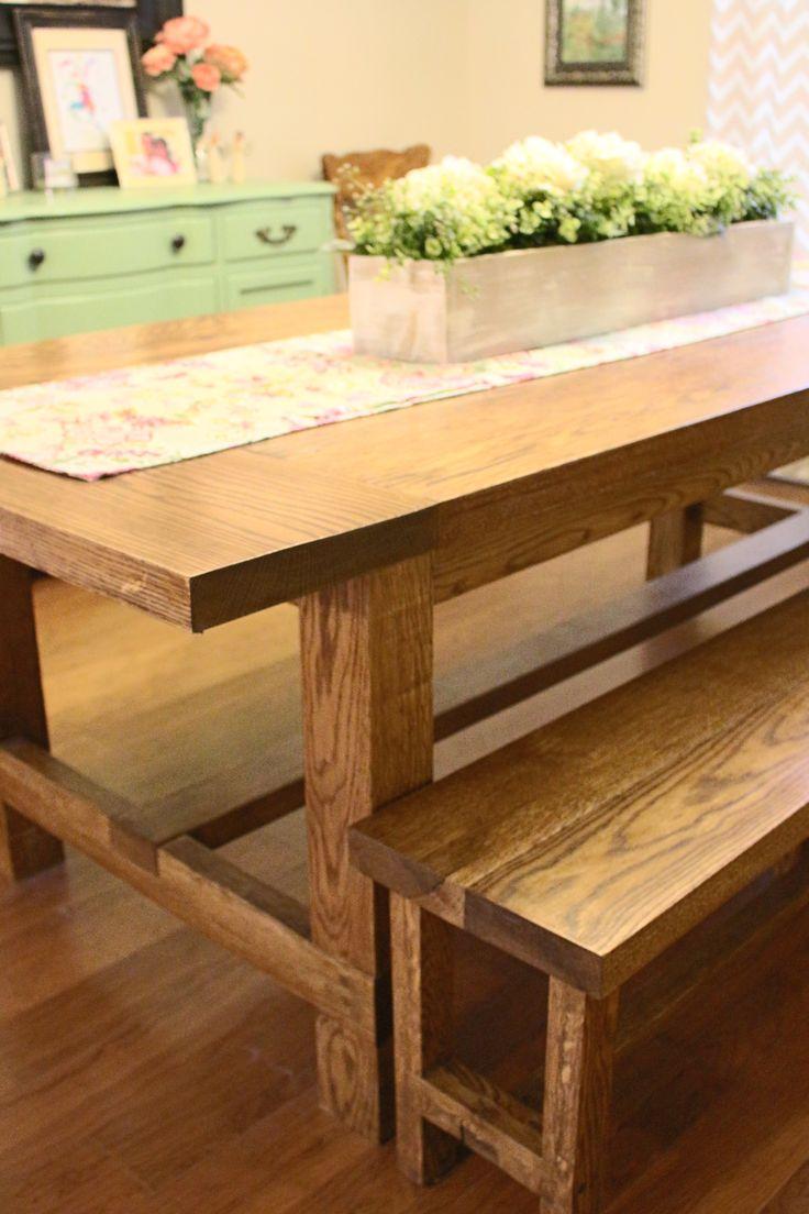 Custom built farm table benches oak rustic solid wood for Solid wood farm table