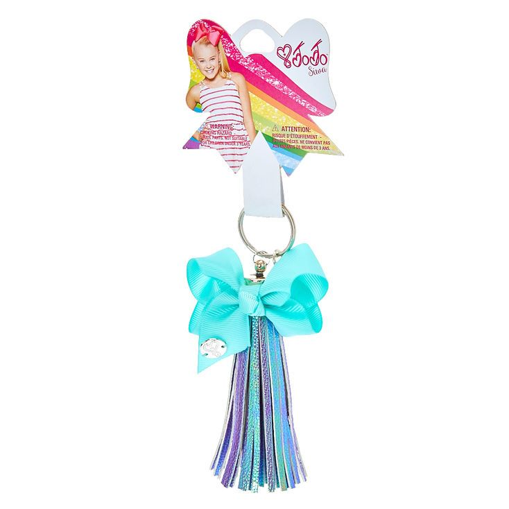 JoJo Siwa IridescentTassel Keychain With Mint Bow