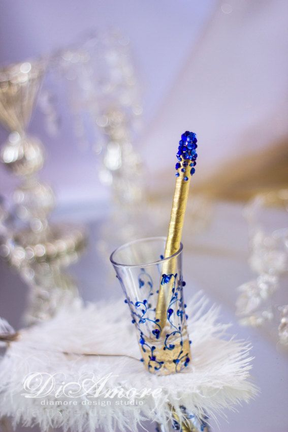 Royal blue and Gold wedding Pen & Holder from the collection Art Deco,luxury traditional, romantic wedding. Royal Blue is a classic color for wedding