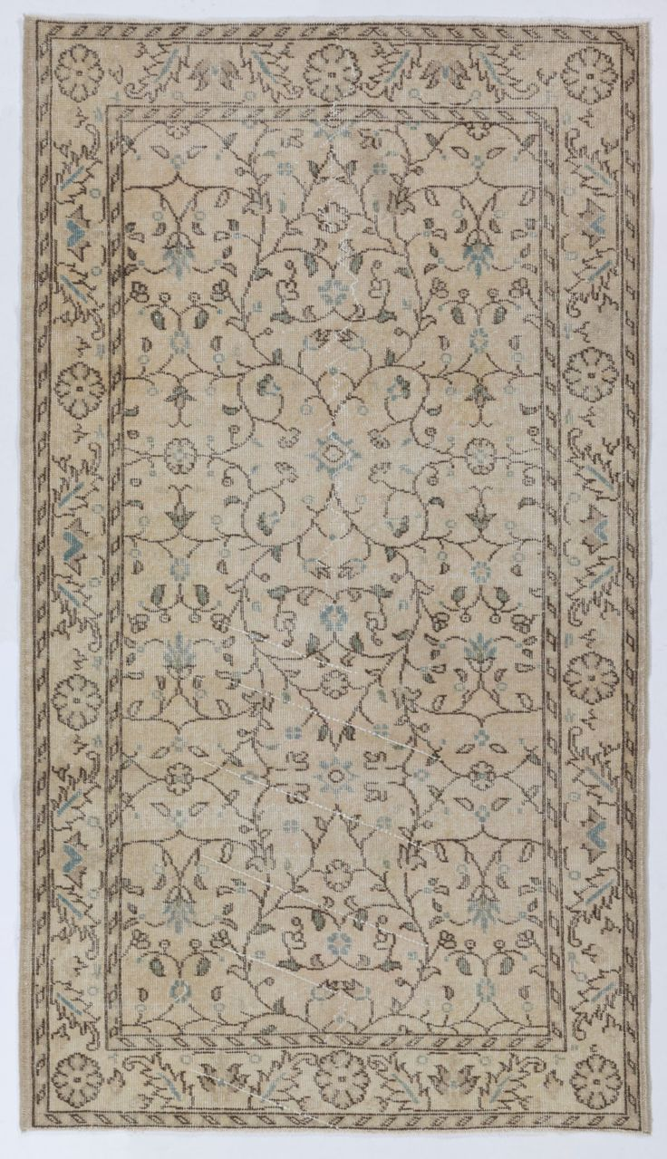 4' x 7' (120 x 207 cm) Handmade Turkish Antique Washed  Rug, Beige by Zorlus on Etsy