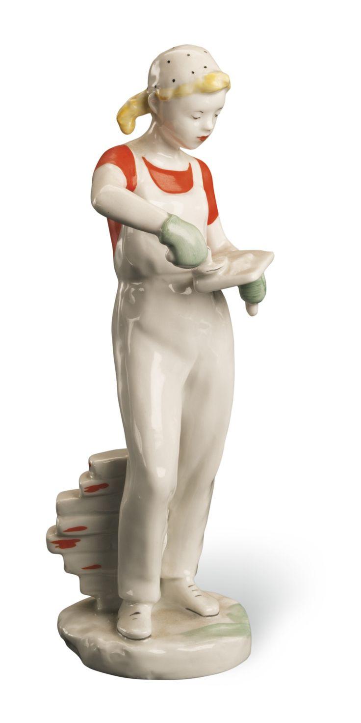 Girl Plasterer, Lomonosov State Porcelain Factory, Leningrad, circa 1955
