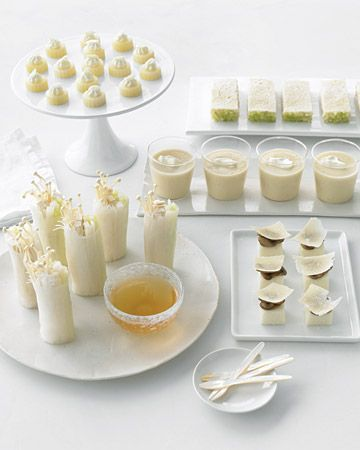 All white menu!  Serving hors d'oeuvres at your cocktail hour made with seafood, such as scallops, yellowtail, or crabmeat; veggies,   like cauliflower and parsnips; and even pasta.  #Feelbeautiful  # WHBM