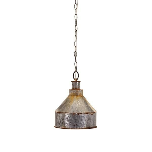 "Industrial revolution: A galvanized pendant light makes any space work. Dimensions: (14""h x 10.75""d) Materials: 100% Galvanized Sheet Metal No assembly required"