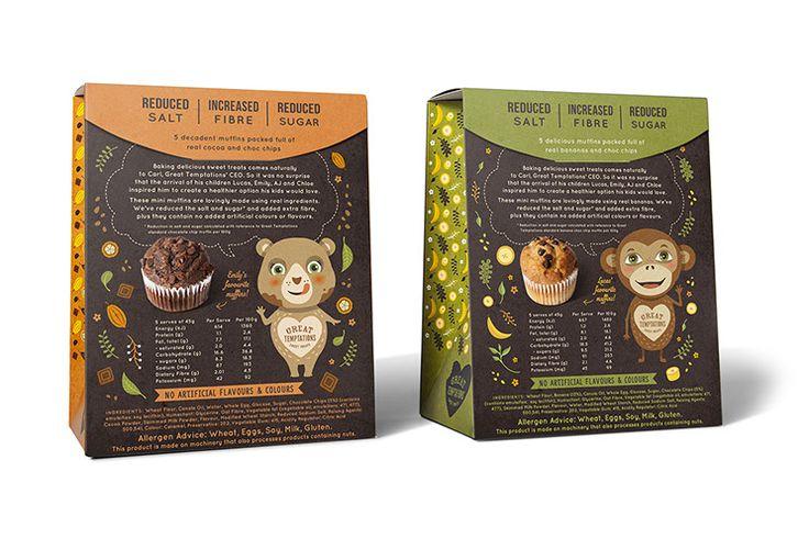 Великие Искушения. Красиво иллюстрированный пять-упаковка коробки конструкции для шоколада и банановые мини-маффины (обратно). Проекты работой dessein, Австралия.