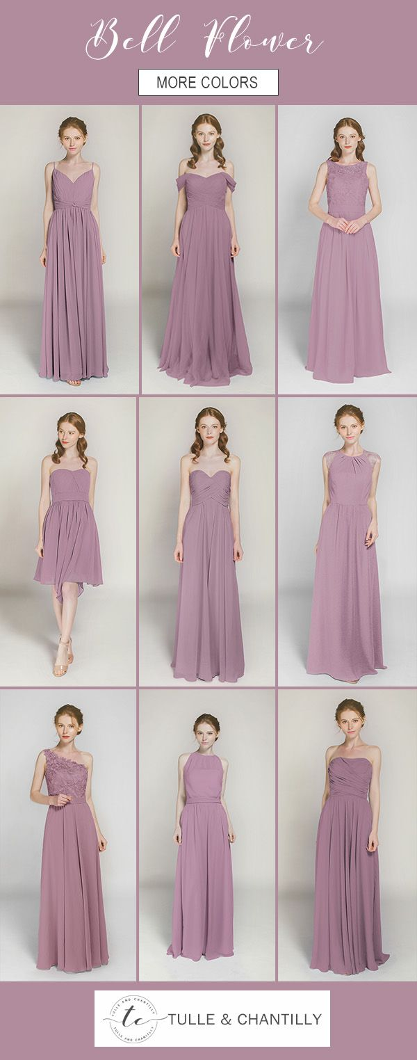 shade of purple bell flower bridesmaid dresses