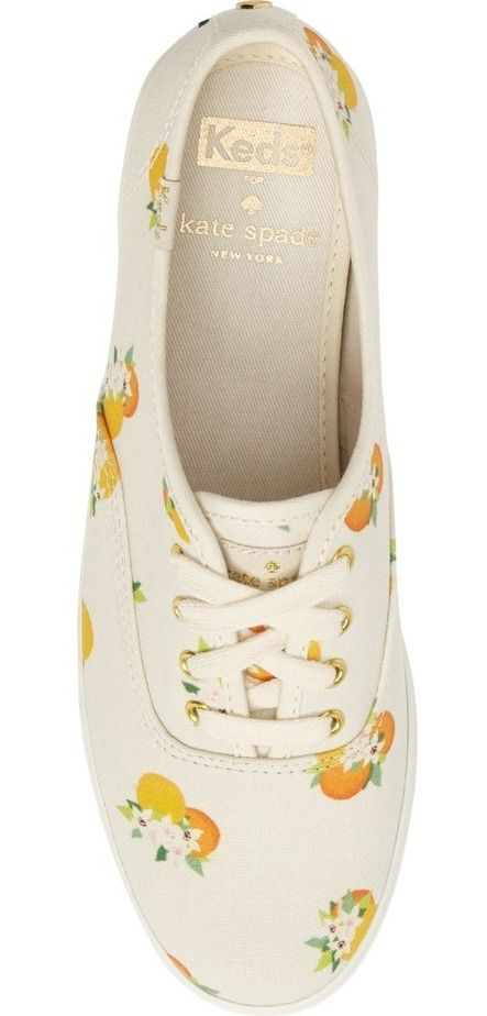 Keds' classic slim-profile sneaker gets a playful update in a cheery print, thanks to a collaboration with Kate Spade.
