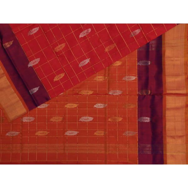Red Uppada Silk Handloom Saree with All Over Buta and Checks Design u1229