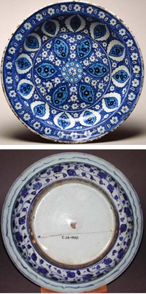 Fitzwilliam Museum Collections Explorer - Object C.26-1950 (Id:73802)dish category Iznik;  c. 1535 — 1545 painted in blue and turquoise under a colourless glaze.  Shape: segmental bowl with a flange rim, sits on a low, wide foot ring  height, whole, 6.5, cm width, whole, 33.2, cm diameter, rim, 33.2, cm diameter, base, 18.7, cm weight, whole, 1341, g