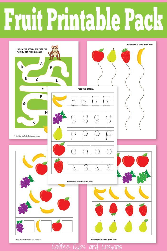 Printable Fruit Pack for Preschool Activities, Cooking