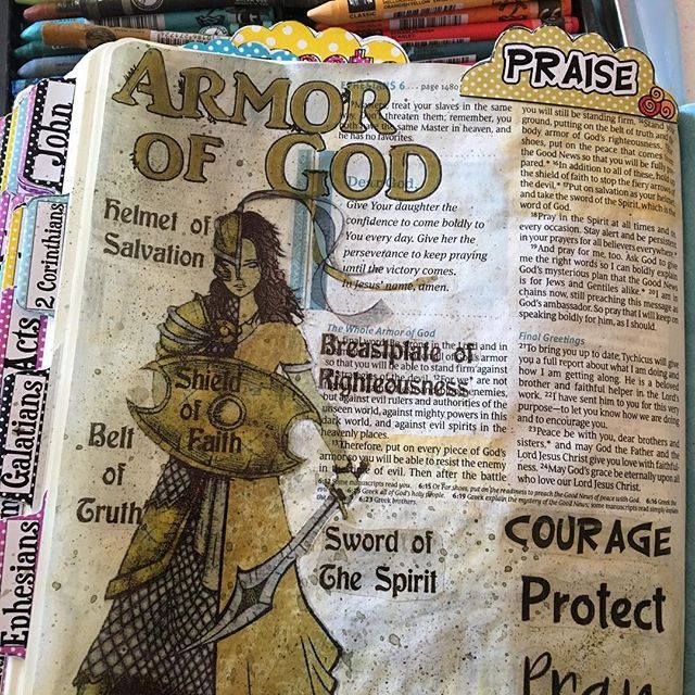 """Everything I see, people I talk too, bible studies, books I'm reading are all leading me to study the """"Armor of God"""".. I'm going to listen to these gentle nudges from God and do a study on it. I always ask Him for advice, and I have to start recognizing when He is telling me what to do. So I did this bible page to start my journey. I also did the same thing in my planner where I will do my study reflections and notes."""
