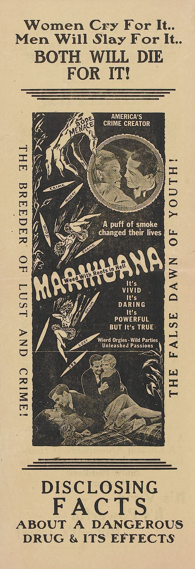 Vintage antimarijuana ad. Marijuana is far less dangerous than alcohol, tobacco, prescription drugs, cocaine, meth, etc.Make easy, small mints for safe pain relief or enjoyment! MARIJUANA - Guide to Buying, Growing, Harvesting, and Making Medical Marijuana Oil and Delicious Candies to Treat Pain and Ailments by Mary Bendis, Second Edition. Just $2.99 for great e-book! muzzymemo.com