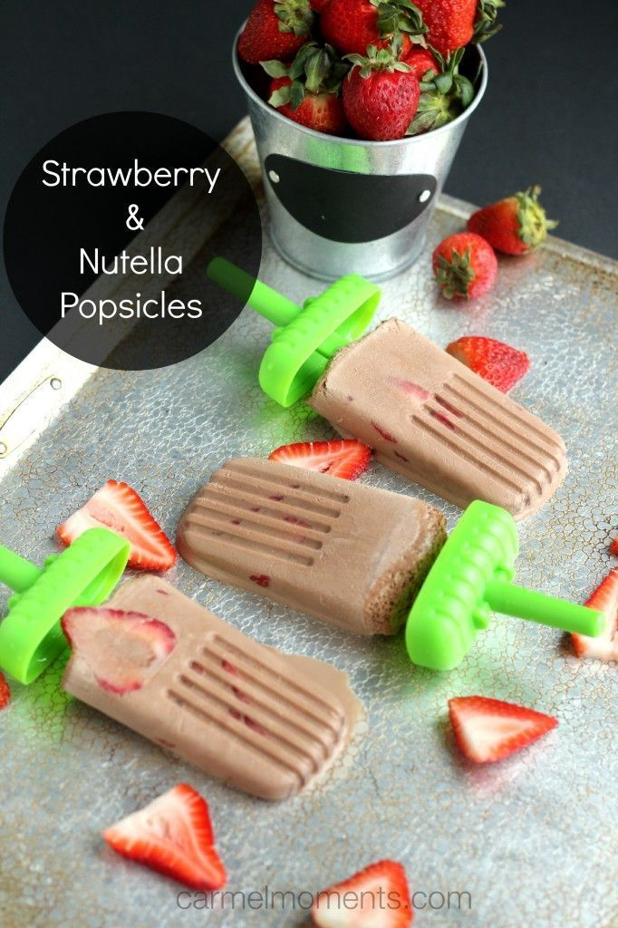 Strawberry Nutella Popsicles ~ Only 3 ingredients. Super simple and delicious!