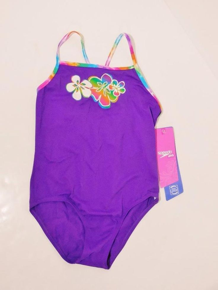 Girls Swimsuit SPEEDO size XL 14 dark purple one piece NEW NWT solid hibiscus #Speedo #Swimsuit