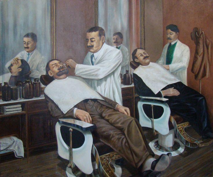 Luis Núñez, artista plástico #Antofagasta #Chile. Los barberos, óleo sobre tela.