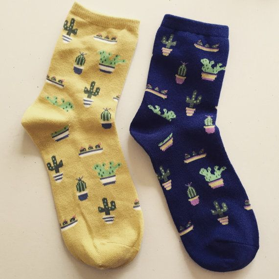 Cactus Print Socks, Succulent Plants Pattern Socks, Cacti Socks, Novelty Socks, Women's Casual Socks, Kawaii Socks