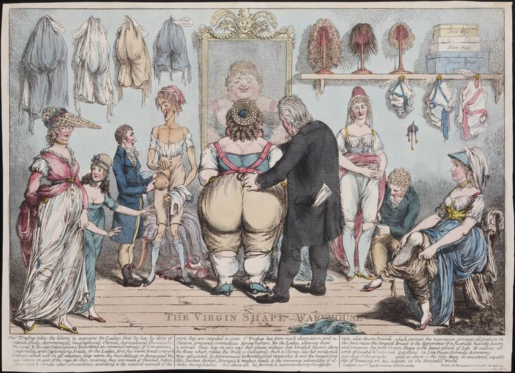 """""""The Virgin Shape Warehouse"""", satirical drawing, London 1799. Lewis Walpole Library Digital Collection"""