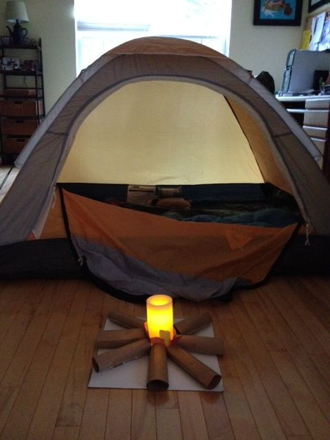 {Hosting an Indoor Camp-out with the Kids}  Creative spin on traditional camping that kids will adore!