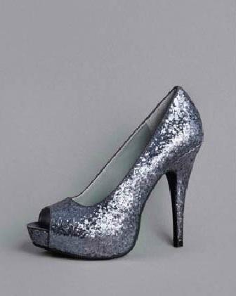 David's Bridal Shoes- Glitter Peep Toe Platform Pump Style VW370007