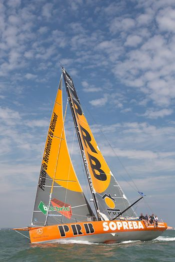 The IMOCA 60 yacht 'PRB' racing in the Artemis Challenge during Cowes Week 2013.