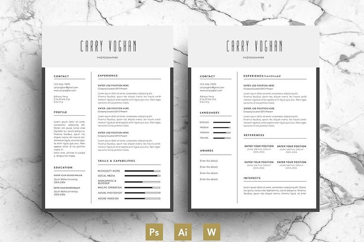 Creative Resume Template / CV by Emily's ART Boutique on @creativemarket