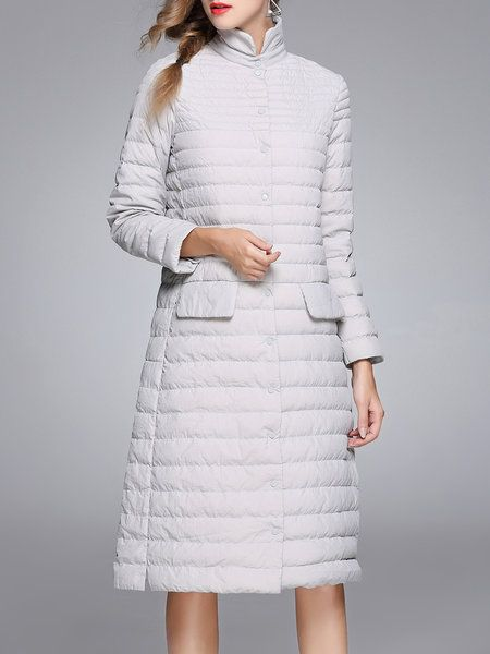 Shop Down Coats - Gray Casual Pockets Down Coat online. Discover unique designers fashion at StyleWe.com.