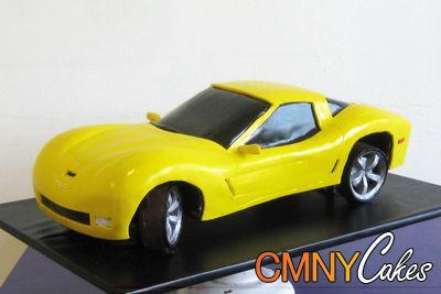Yellow Chevy Corvette Cake