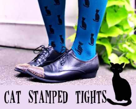Cat Stamped Tights