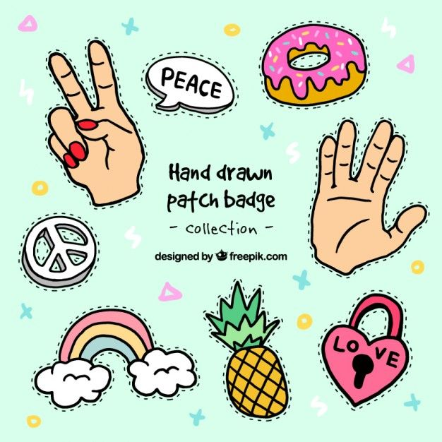 Variety of hand drawn patches  Free Vector