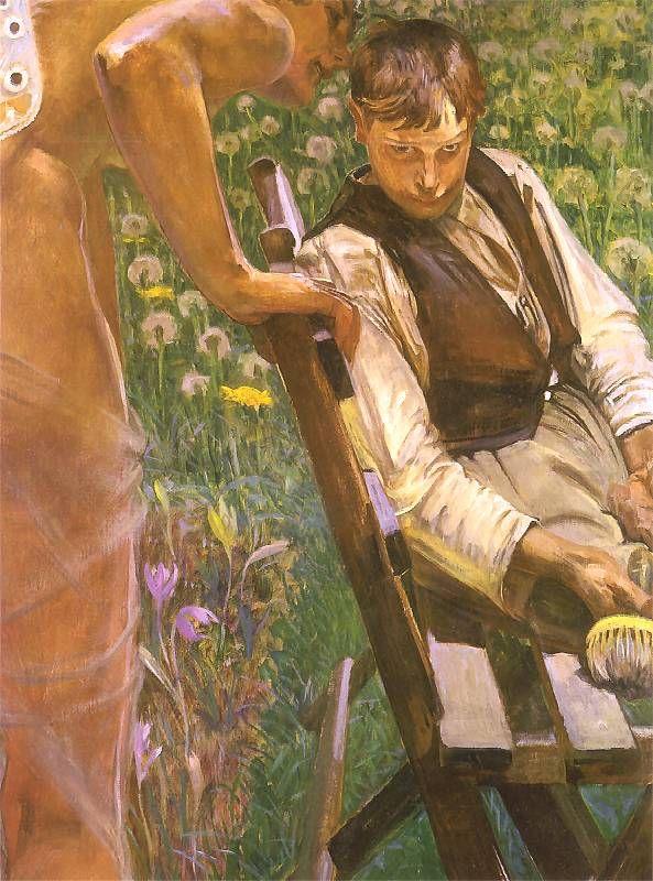 'Malarczyk i jego Muza (Podszepty)'. (Malarczyk and his Muse - Whispers) By Jacek Malczewski (1854-1929)