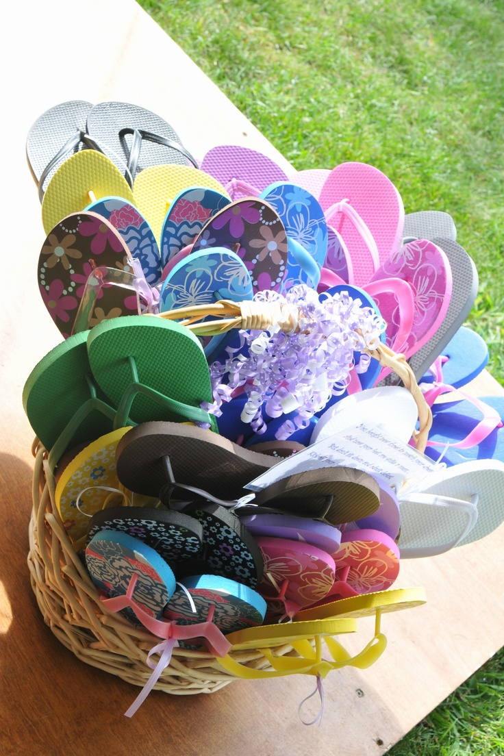 FlipFlop giveaways- could put a nail polish or foot product with a pair of flip flops for a cute door prize!