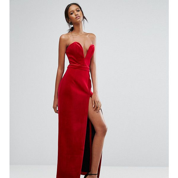 TTYA Black Bonded Velvet Sweetheart Bandeau Maxi Dress With Thigh... ($144) ❤ liked on Polyvore featuring dresses, red, red velvet cocktail dress, red cocktail dress, maxi dresses, slimming cocktail dresses and velvet cocktail dress