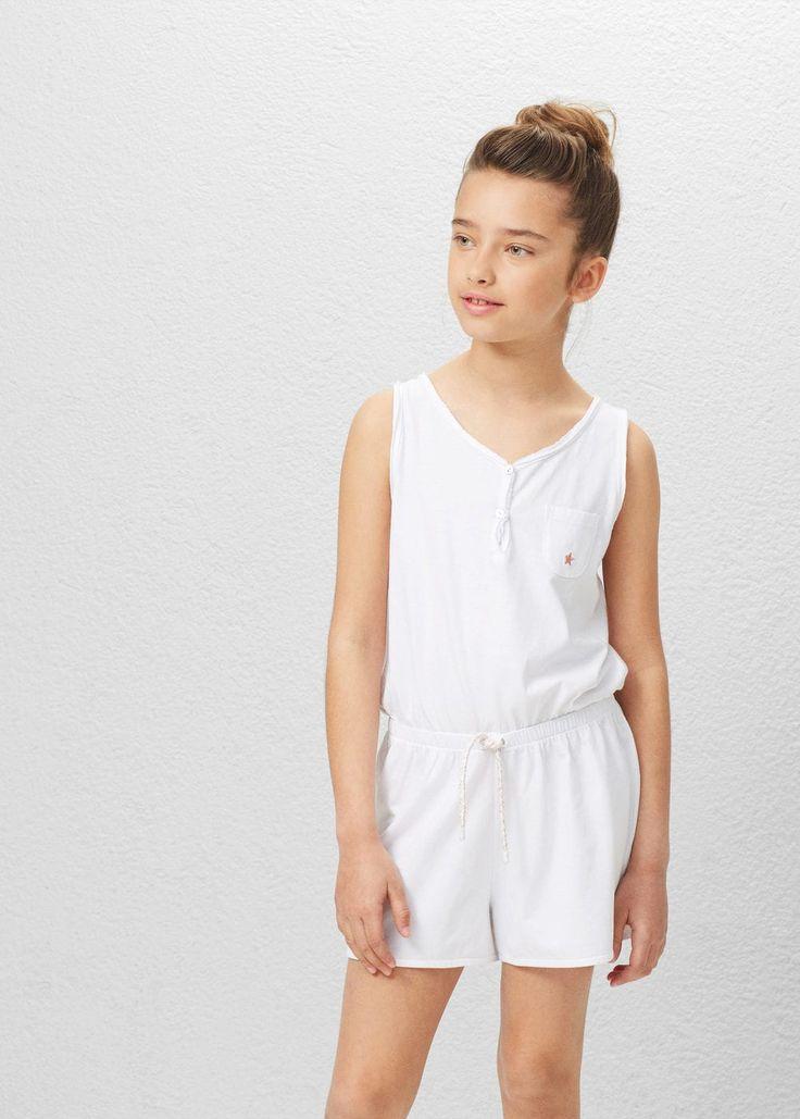 Cotton short jumpsuit | MANGO KIDS