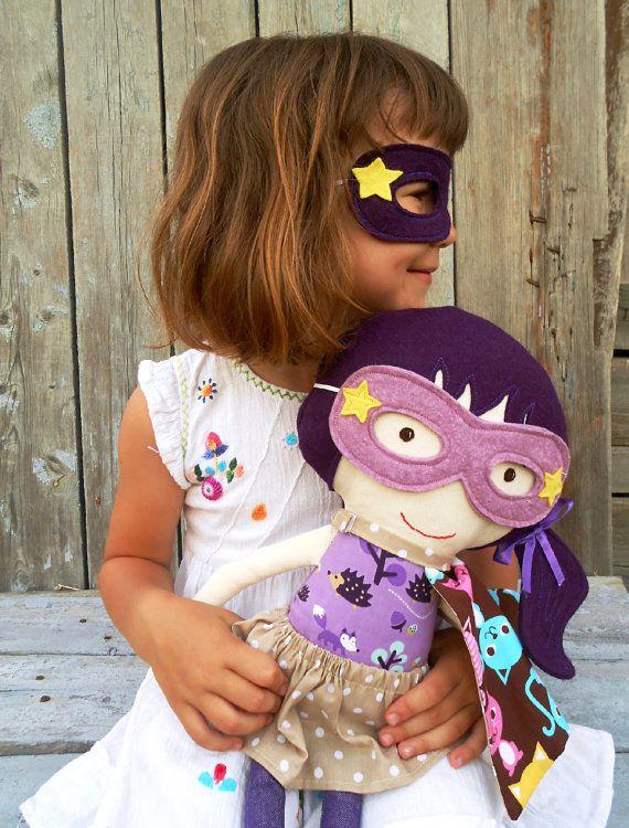 CLOTH DOLL fabric doll superhero girl doll rag by LaLobaStudio