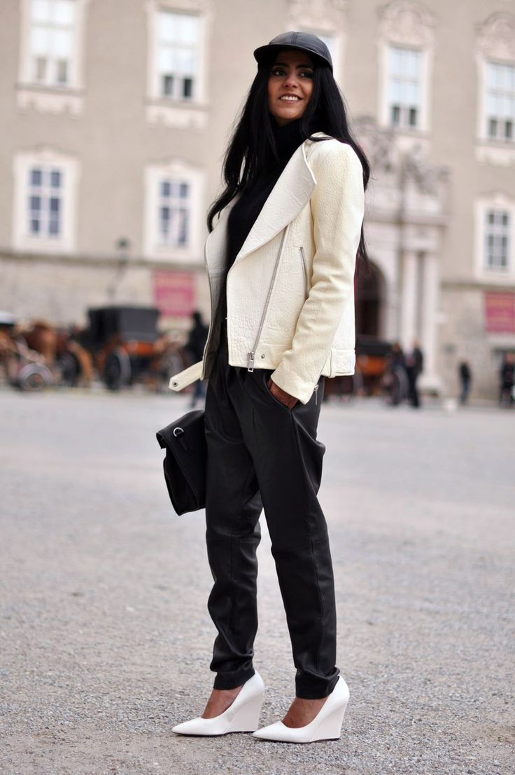Mango baggy leather trousersandwedges, a Zara leather jacket and lunchbag, ASOS leathercap