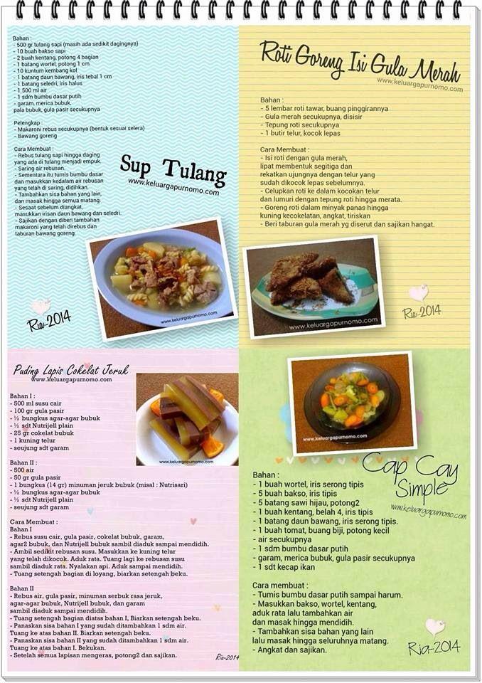 Sup Tulang, roti goreng gula merah, pudding lapis cokelat jeruk, cap cay simple