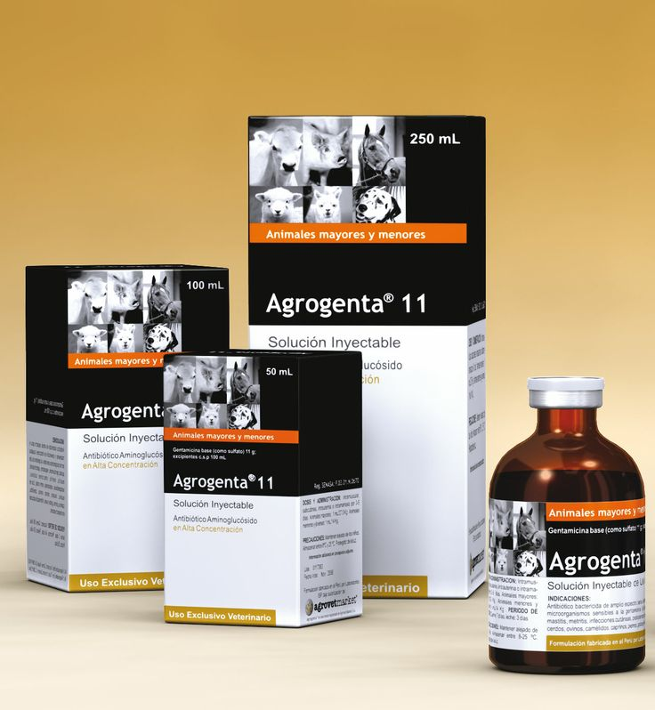 Agrogenta® 11  Formula: Gentamicina (como sulfato) 110 mg, excipientes c.s.p. 1 mL Indicaciones: Tratamiento  de infecciones  por microorganismos sensibles a la gentamicina (del aparato genito-urinario, respiratorio, gastrointestinal). Para casos de mastitis, metritis bacteriana, infecciones cutáneas, postoperatorias, septicemias,entre otras. Dosis: Equinos y vacunos: 4-8 mL/animal; terneros, ovinos, porcinos y caprinos: 1-3 mL/animal; caninos y felinos: 0.1-0.5 mL/animal.