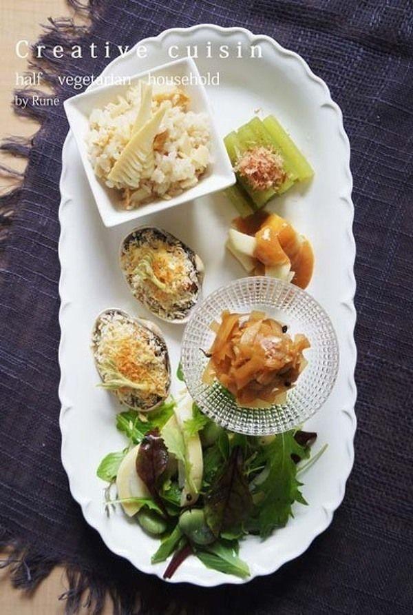 ベークドアサリ&ウド×筍春菜ワンプレート